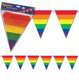 PENNANTS-RAINBOW STRIPED TRIANGLE, 30ft