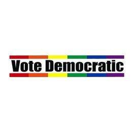 STICKER- VOTE DEMOCRAT RAINBOW