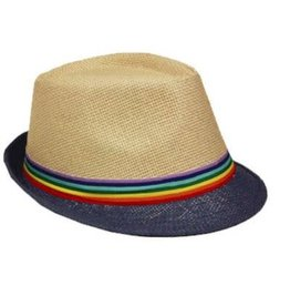 RAINBOW HAT-RAINBOW FABRIC STRIP STRAW FEDORA
