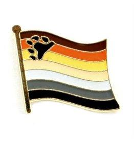 RAINBOW PIN-LAPEL BEAR PRIDE WAVY FLAG