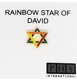 RAINBOW PIN-LAPEL RAINBOW STAR OF DAVID