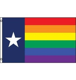 RAINBOW FLAG-TEXAS LONESTAR PRIDE 3'x5'