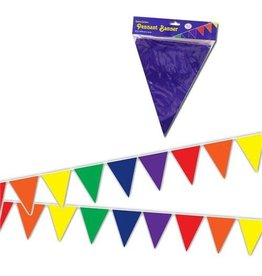 RAINBOW SOLID TRIANGLE PENNANTS 12ft