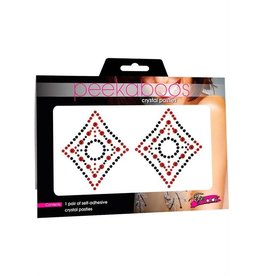 PEEKABOOS PASTIES-PEEKABOOS,CRYSTAL DIAMOND,RED/B