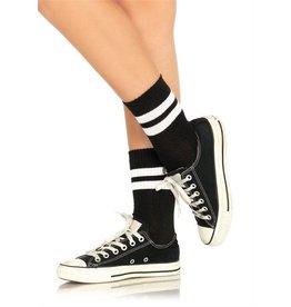 LEG AVENUE STOCKINGS-ANKLETS, ATHLETIC STRIPE BLK/