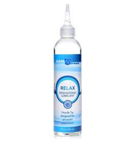 XR Brands Clean Stream Relax Desensitizing Anal Lubricant With Nozzle Tip 8oz