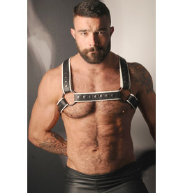 LEATHERMASTR HARNESS-W/PIPING WHITE