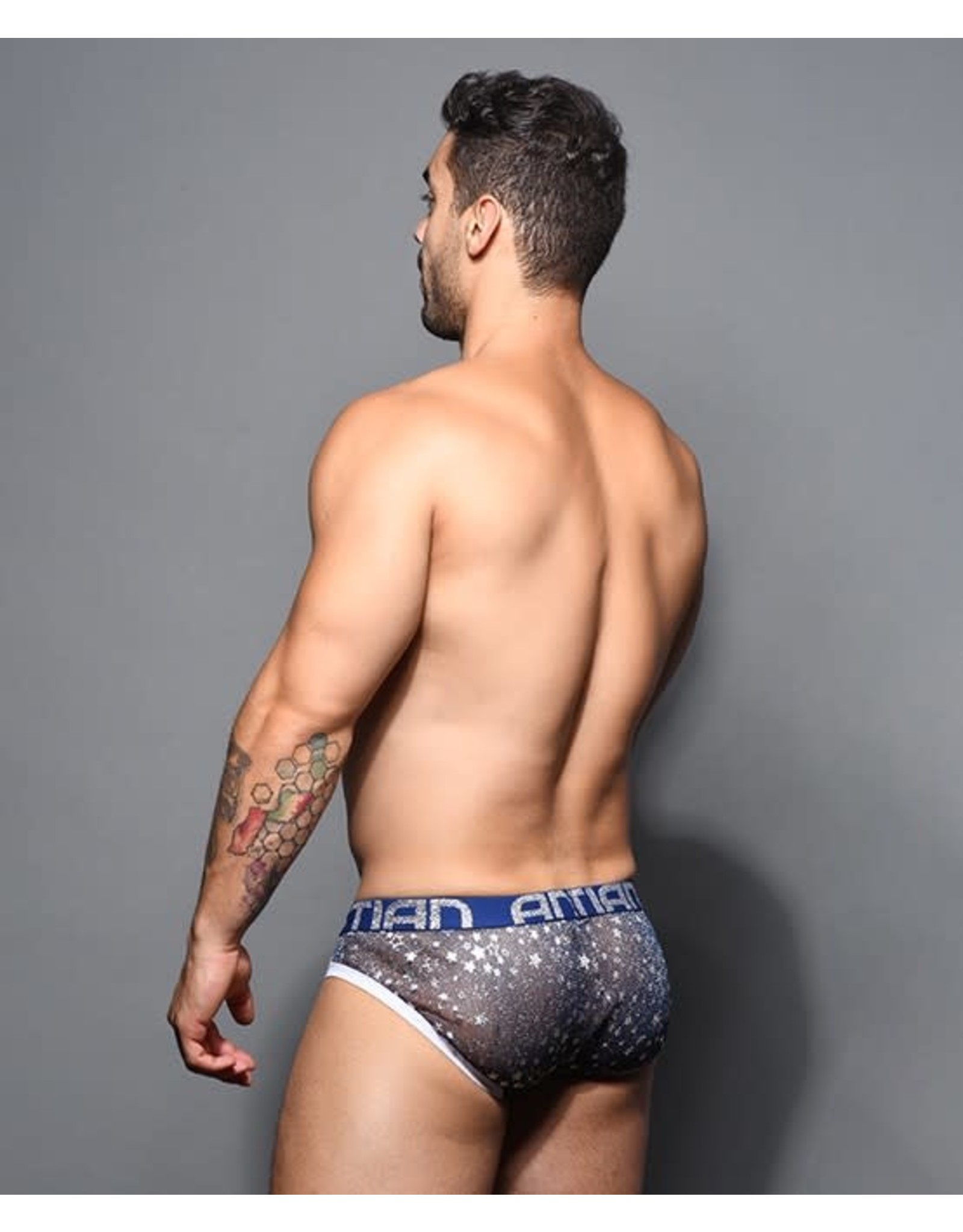 ANDREW CHRISTIAN ANDREW CHRISTIAN SHEER STAR SPARKLE BRIEF W/ ALMOST NAKED
