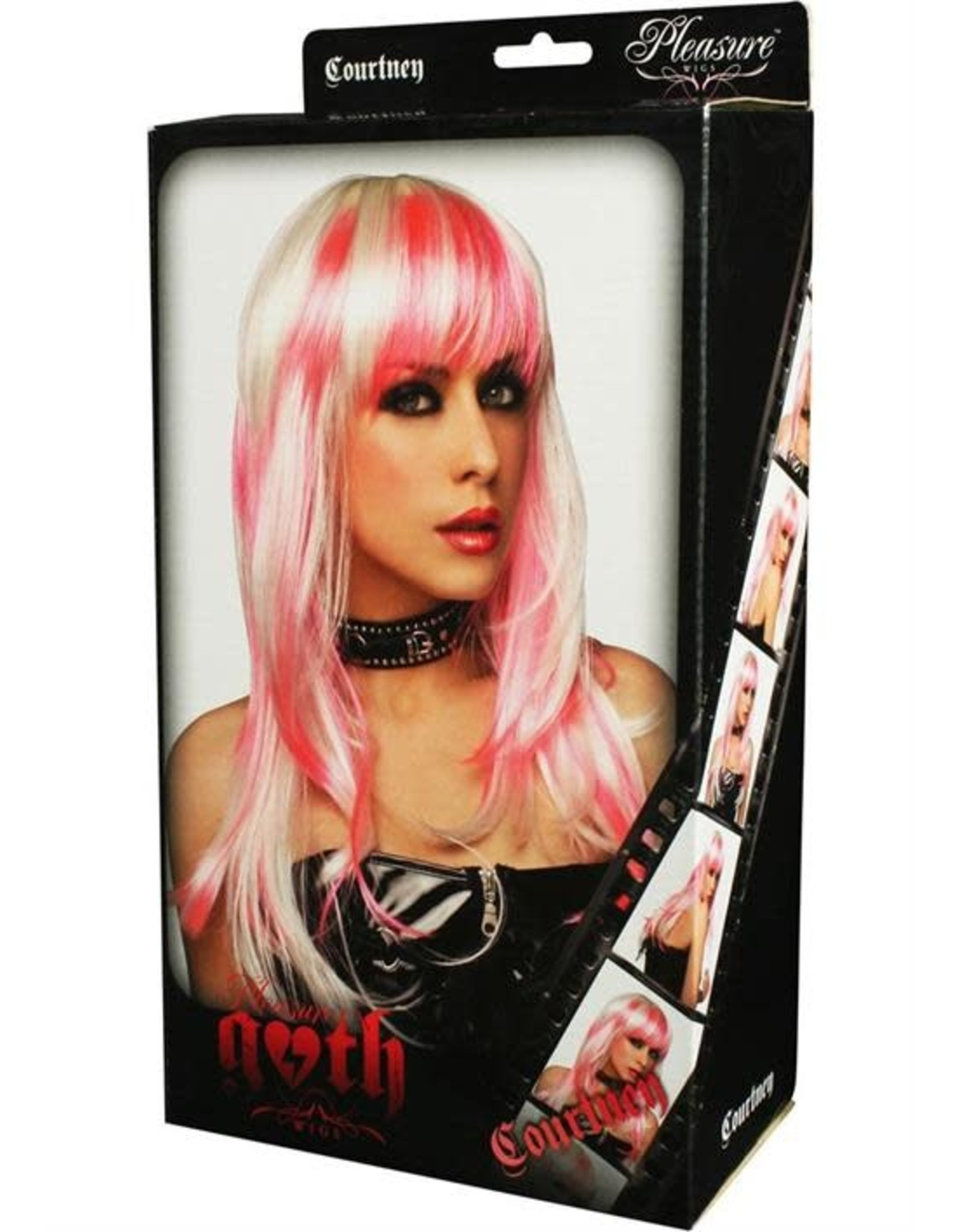 WIG-COURTNEY, WHITE W/HOT PINK