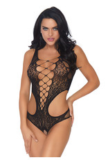 LEG AVENUE CROTCHLESS SEAMLESS LACE CUT OUT LACE TEDDY