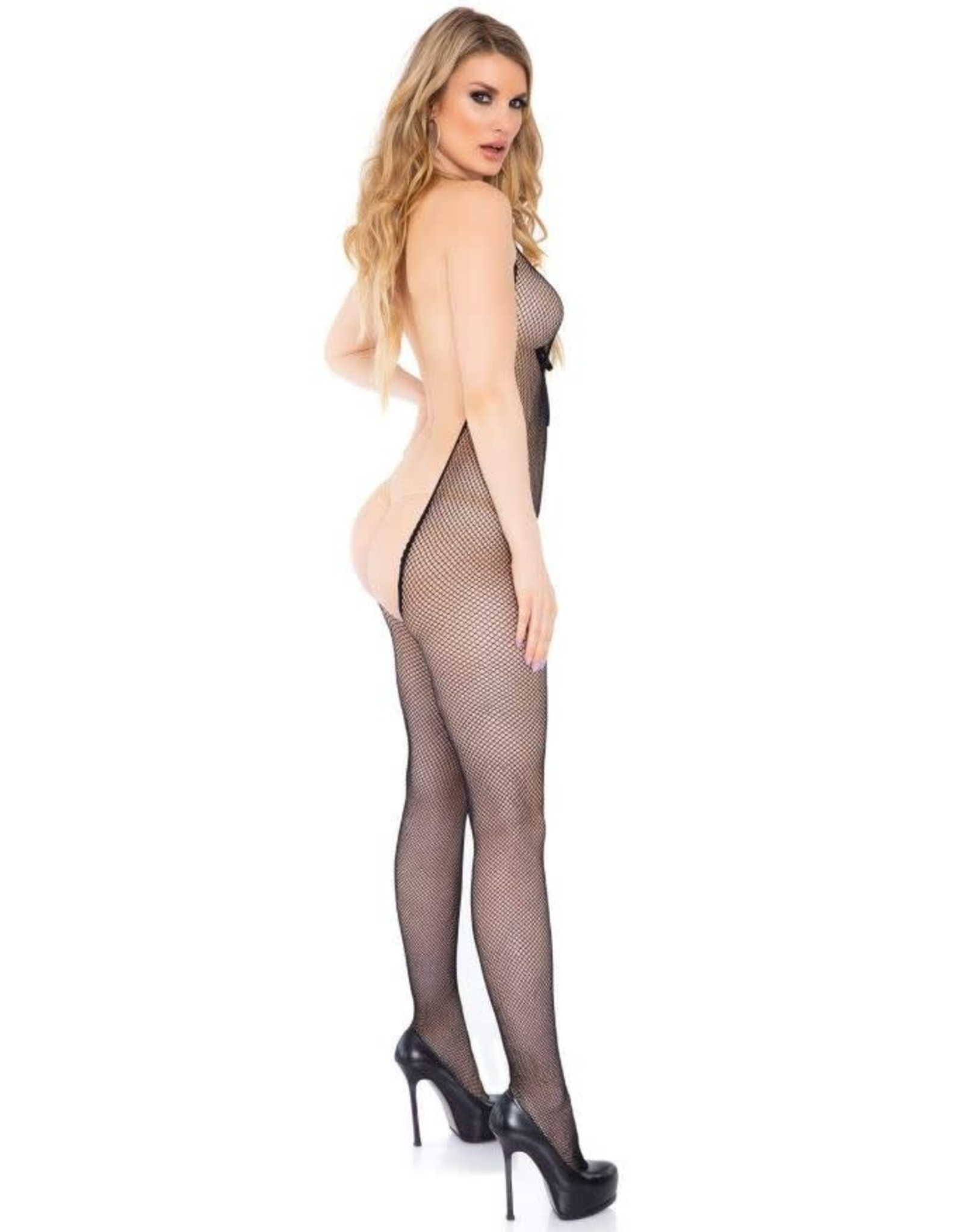 LEG AVENUE BARE BOTTOM BACKLESS FISHNET BODYSTOCKING