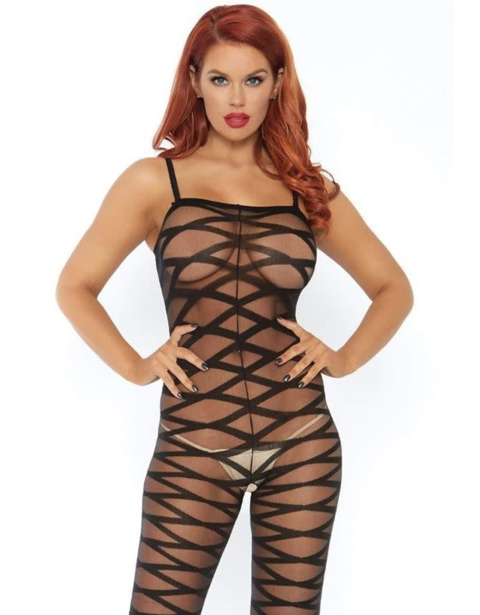 LEG AVENUE BODYSTOCKING SHEER CRISS CROSS BLK
