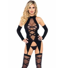 LEG AVENUE 3PC-OPAQUE SHEER FAUX LACE UP CAMIGARTE