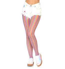 LEG AVENUE RAINBOW SHIMMER STRIPED FISHNET TIGHTS PINK O/S