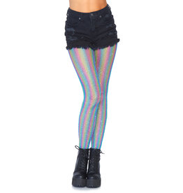 LEG AVENUE RAINBOW SHIMMER STRIPED FISHNET TIGHTS BLUE O/S