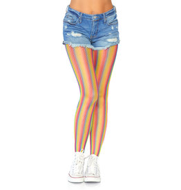 LEG AVENUE RAINBOW STRIPED FISHNET TIGHTS O/S