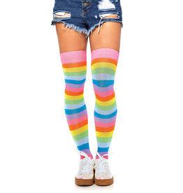 LEG AVENUE ACRYLIC NEON RAINBOW THIGH HIGH O/S