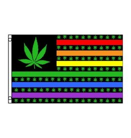 RAINBOW FLAG-RAIN USA MARIJUANA 3'X5' POLYESTER
