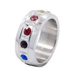 CHUNKY MOLDED RAINBOW STAINLESS STEEL RING, SIZE 06