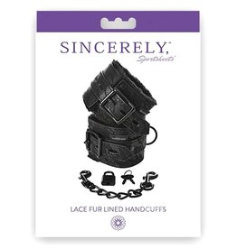 SPORTSHEETS HANDCUFF,SINCERELY LACE FUR-LINED