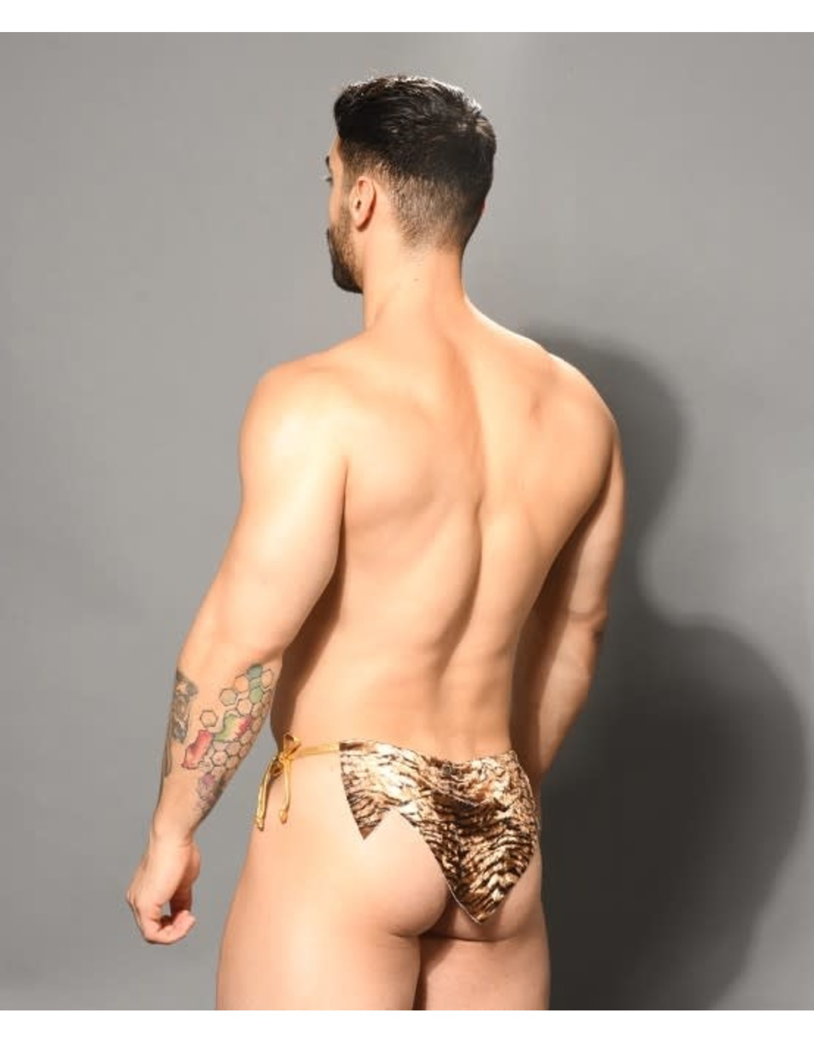 ANDREW CHRISTIAN ANDREW CHRISTIAN PLUSH TIGER JUNGLE MESH THONG