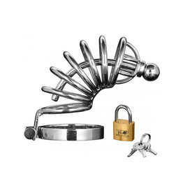 XR Brands MASTER SERIES ASYLUM 6 RING LOCKING STAINLESS STEEL CHASITY CAGE