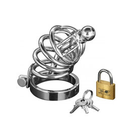 XR Brands MASTER SERIES ASYLUM 4 RING LOCKING CHASTITY CAGE STAINLESS STEEL