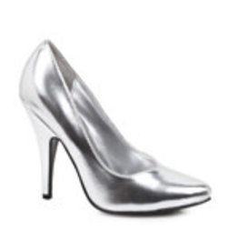"ELLIE SHOES 5"" HEEL PUMPS SILVER SIZE 12"