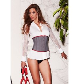 BACI LINGERIE SUIT INSPIRED CINCHER CORSET GREY SMALL