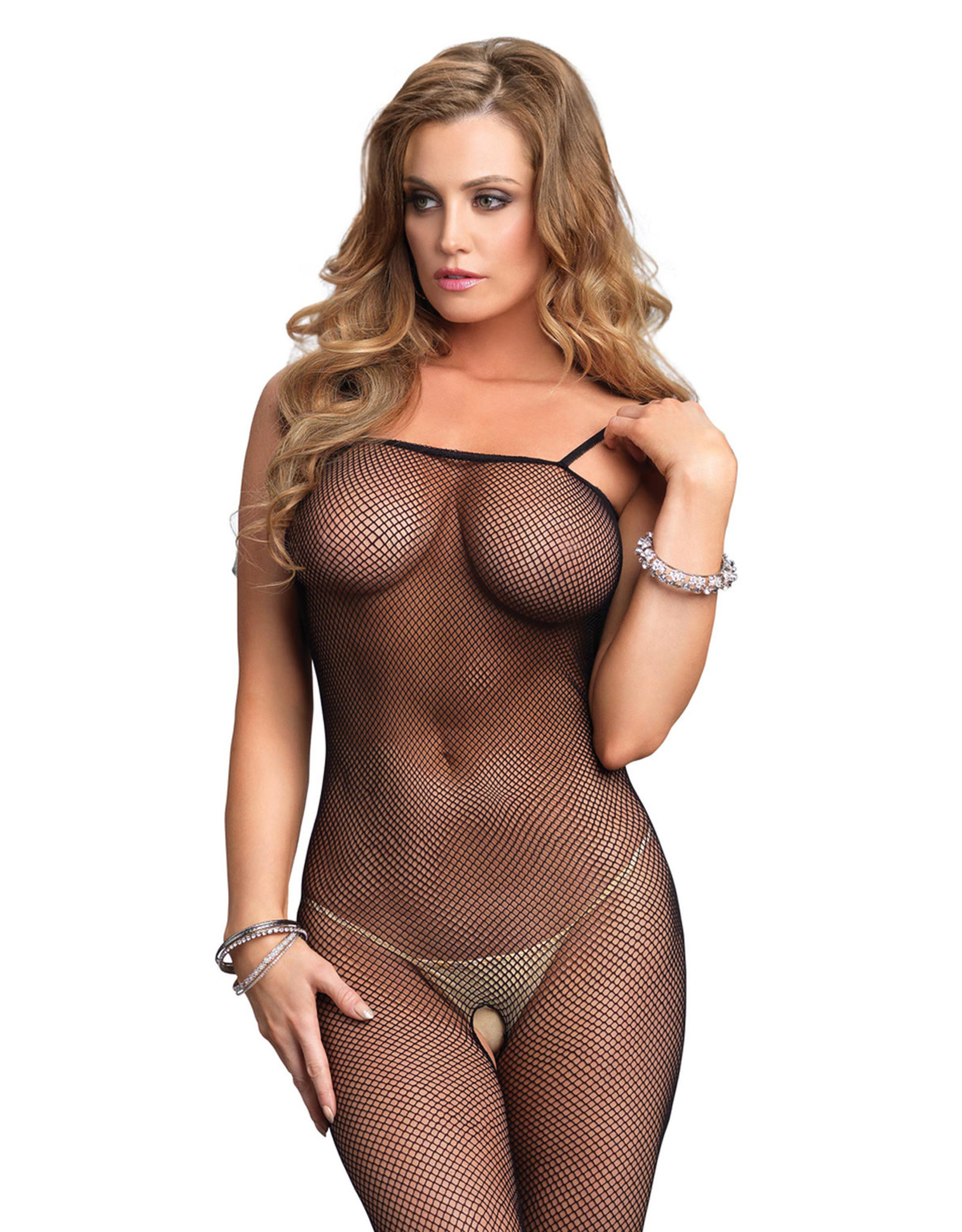 LEG AVENUE FISHNET BODYSTOCKING  BLACK