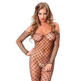 LEG AVENUE FENCE NET OFF THE SHOULDER BODYSTOCKING O/S