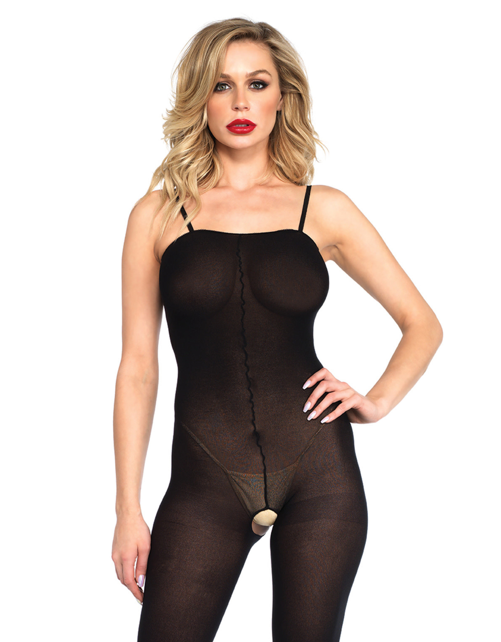 LEG AVENUE OPAQUE BODYSTOCKING WITH SPAGHETTI STRAPS