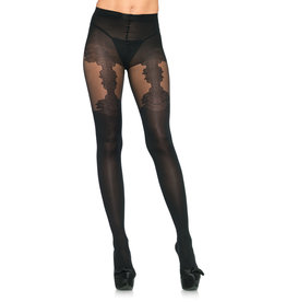 LEG AVENUE SPANDEX OPAQUE TIGHTS W/FLORAL GARTER