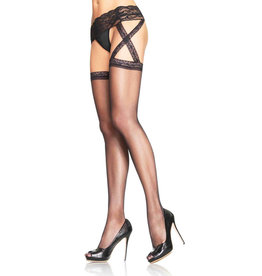LEG AVENUE CHRIS CROSS SHEER GARTER BELT PANTYHOSE