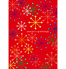 X-MAS CARD SNOWFLAKES ON RED