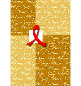 X-MAS CARD RED RIBBON ON GOLD