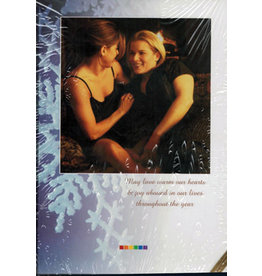 X-MAS CARD-WOMEN BY FIRE, MAY LOVE WARM OUR HEARTS