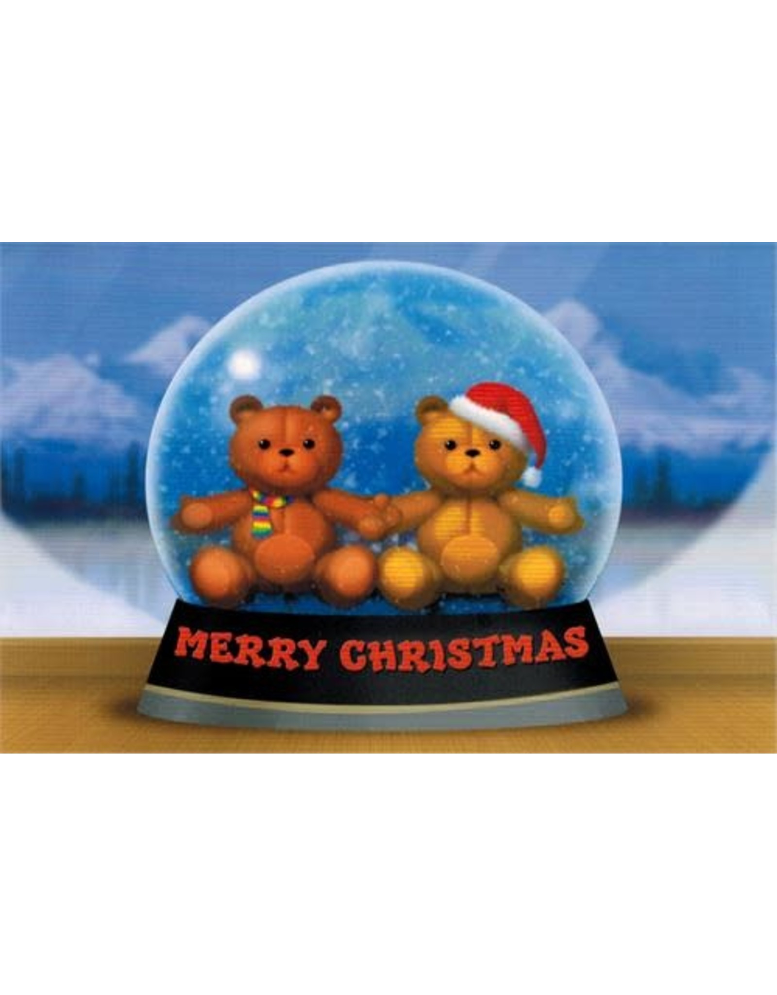10% PRODUCTIONS X MAS CARD SNOW GLOBE W/ TEDDY BEARS