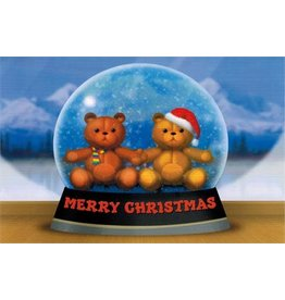 10% PRODUCTIONS X MAS CARD SNOW GLOBE W/ TEDDY BEARS