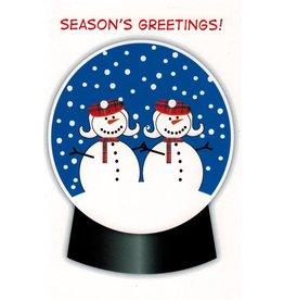 10% PRODUCTIONS X MAS CARD-SNOW WOMAN SNOWGLOBE, SEASONS GREETINGS!