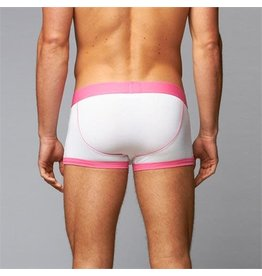 JT- HALF FALL BOXER, WHITE/PINK, LARGE