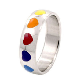 MONSTER RING-STAINLESS ENAMEL HEARTS BAND, SIZE 05