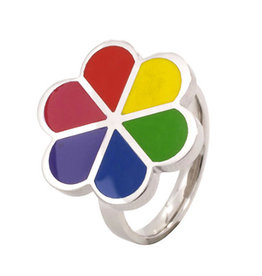 RING-STAINLESS STEEL RAINBOW ENAMEL FLOWER, SIZE 08