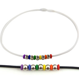 RUBBER NECKLACE WITH RAINBOW & SILVER BEADS