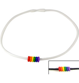 RUBBER NECKLACE W/ RAINBOW BEADS