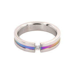 STAINLESS STEEL ANODIZED RING WITH TENSION PLACED GEM