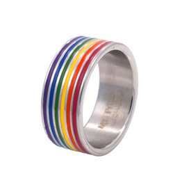 RAINBOW STAINLESS RAINBOW ENAMEL LINES WRAPPED RING