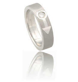 STAINLESS SATIN MALE/MARS SYMBOL RING WITH CZ