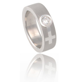 STAINLESS SATIN FEMALE/VENUS SYMBOL RING WITH CZ