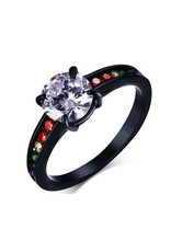 RAINBOW BLACK STAINLESS RAINBOW STONES W/ CENTER CZ RING